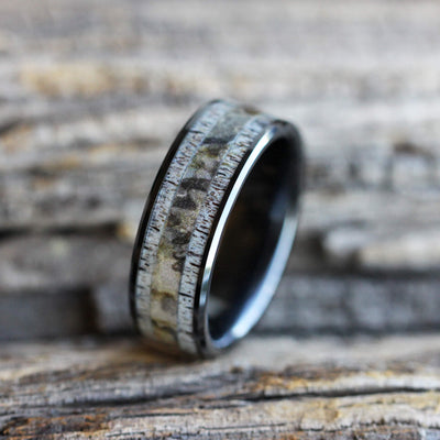 Camo Ring with Natural Deer Antler in Black Ceramic-3271 - Jewelry by Johan