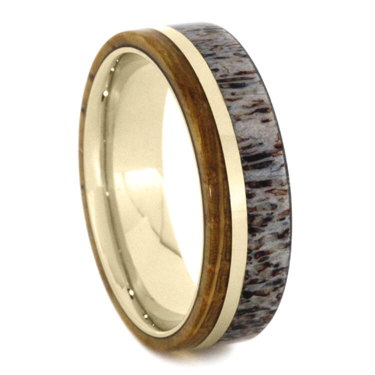 White Gold Ring With Whiskey Barrel Oak Wood And Antler
