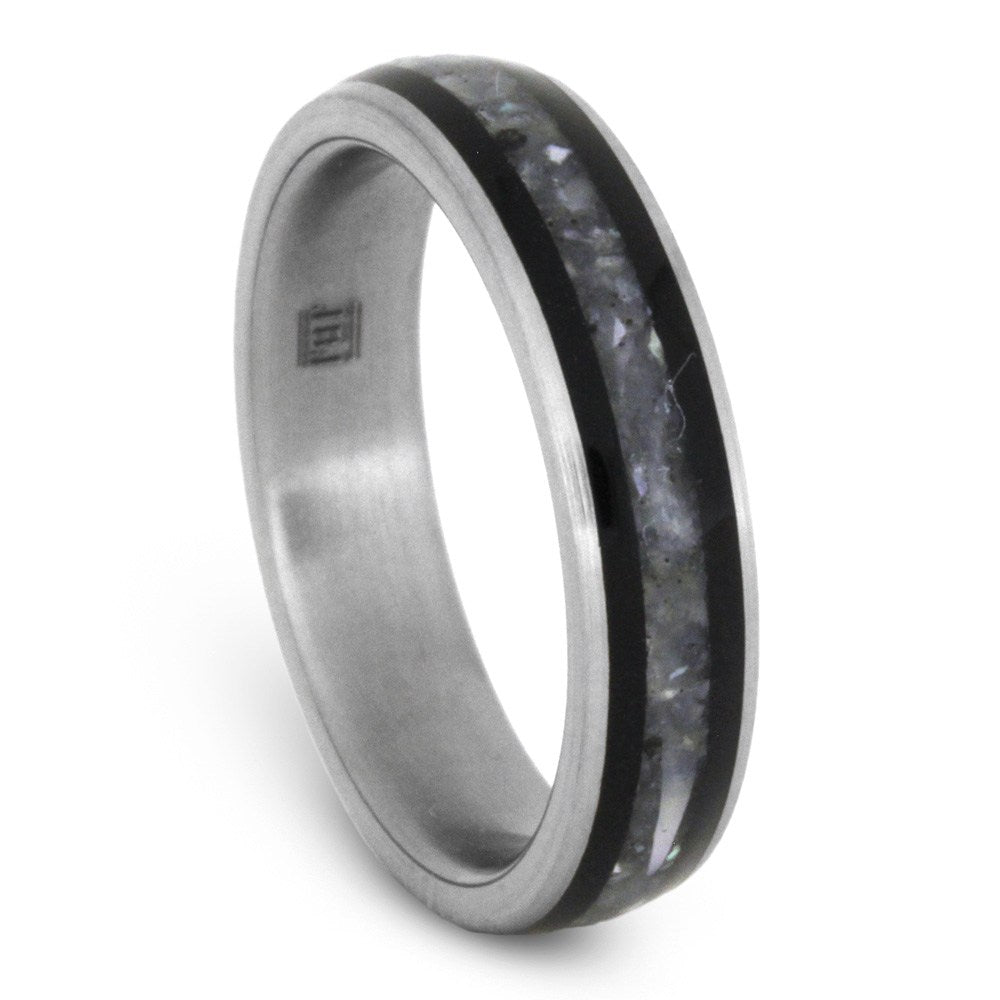 Mother of Pearl And Black Ebony Wood Ring in Titanium, Size 6-RS8554 - Jewelry by Johan