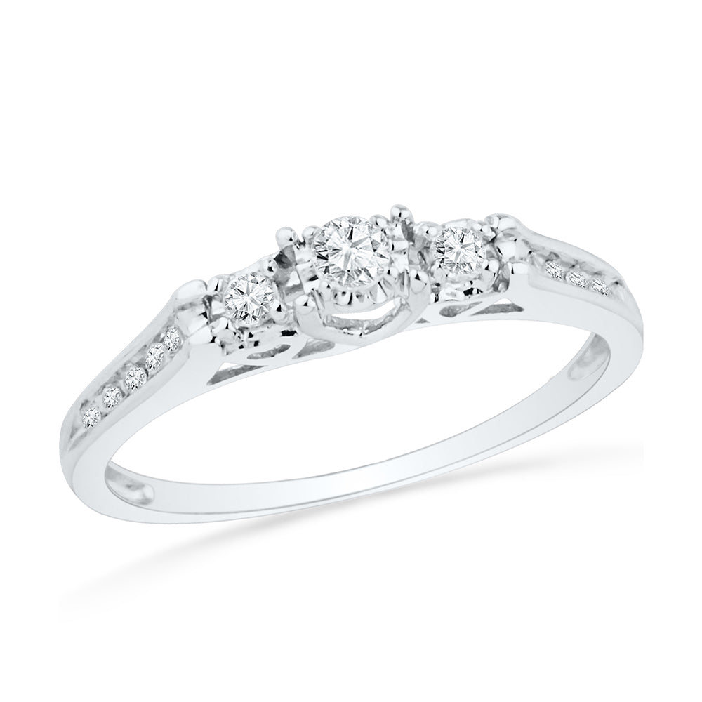 Three Stone Engagement Ring in Sterling Silver-SHRP013774-SS - Jewelry by Johan