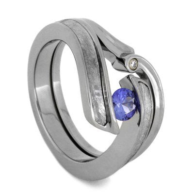 Meteorite Blue Sapphire Engagement Ring, Moissanite Wedding Band-1790 - Jewelry by Johan