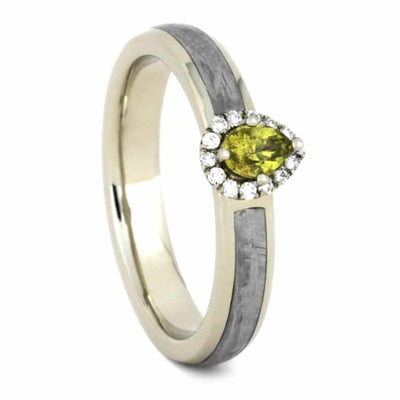 Peridot Engagement Ring, Meteorite Ring With Rare Gemstone-3581 - Jewelry by Johan