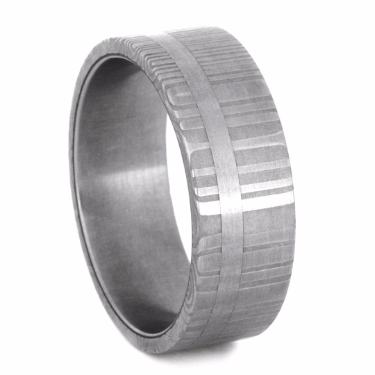 Damascus Wedding Band with a Stainless Steel Pinstripe-2227 - Jewelry by Johan