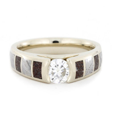 Forever One Moissanite Ring with Dinosaur Bone and Meteorite-3163 - Jewelry by Johan
