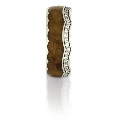 Diamond Eternity Wedding Band, Teak Wood Crown Ring With White Gold-DJ1014WG - Jewelry by Johan