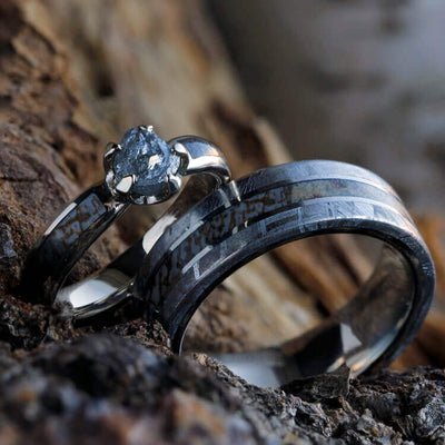 Unique Wedding Ring Set With Rough Diamond Engagement Ring-2394 - Jewelry by Johan