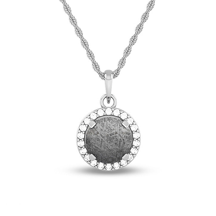 April Birthstone Pendant With Meteorite And Diamond On 14k White Gold Necklace-1680 - Jewelry by Johan