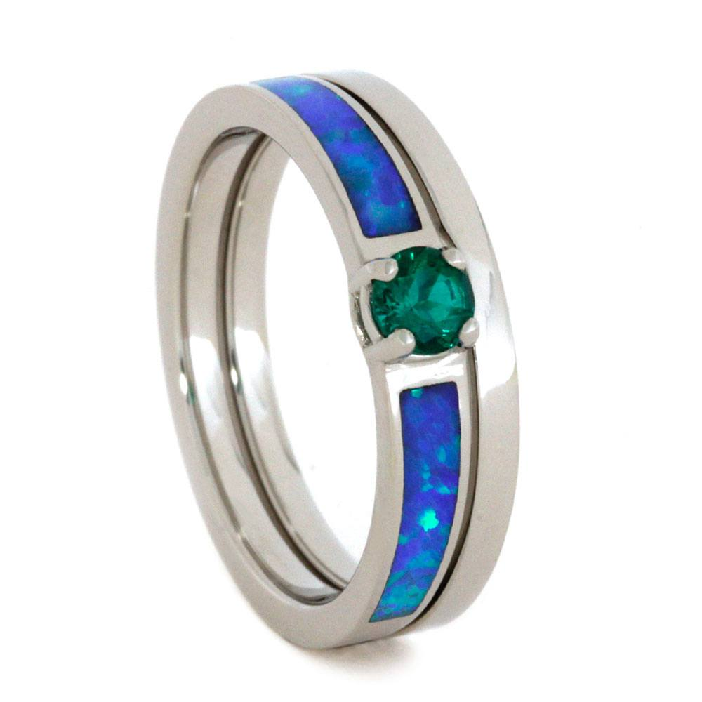 Emerald Bridal Set with Opal Inlays in 10k White Gold-2824 - Jewelry by Johan