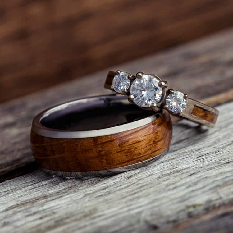 Wood Wedding Ring Set, White Gold And Titanium Rings-3781