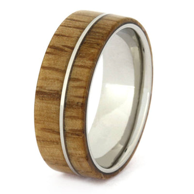Wood Wedding Band, Oak Wood In Titanium, Mens Wedding Band-3295 - Jewelry by Johan