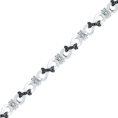 Black and White Diamond Bracelet in Sterling Silver