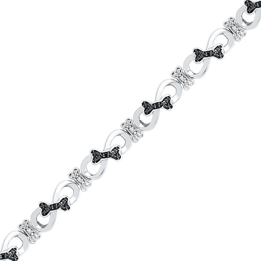 Sterling Silver Bow Tie Black Diamond Infinity Bracelet-SHBF074551BAWBW-SS - Jewelry by Johan