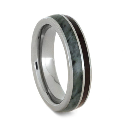 Green Jade Wedding Band Set With Redwood And Cedar Wood-3481 - Jewelry by Johan