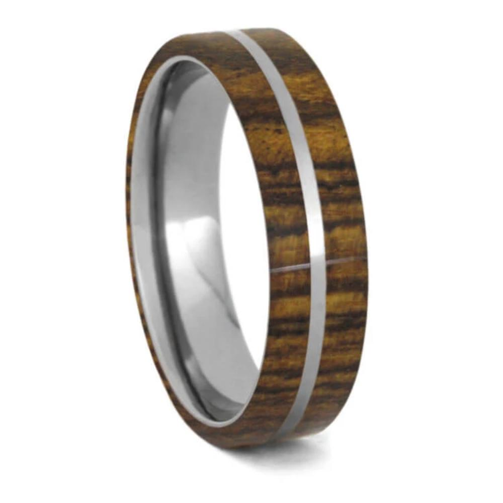 Thin Bocote Wood Wedding Band, Titanium Ring-1326 - Jewelry by Johan