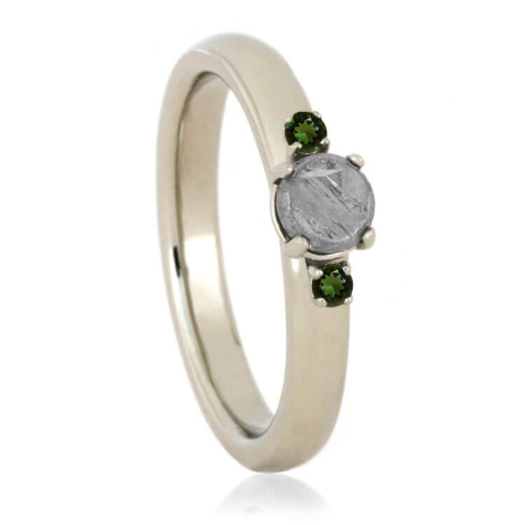 Meteorite Stone Engagement Ring With Moldavite Accents, White Gold Ring