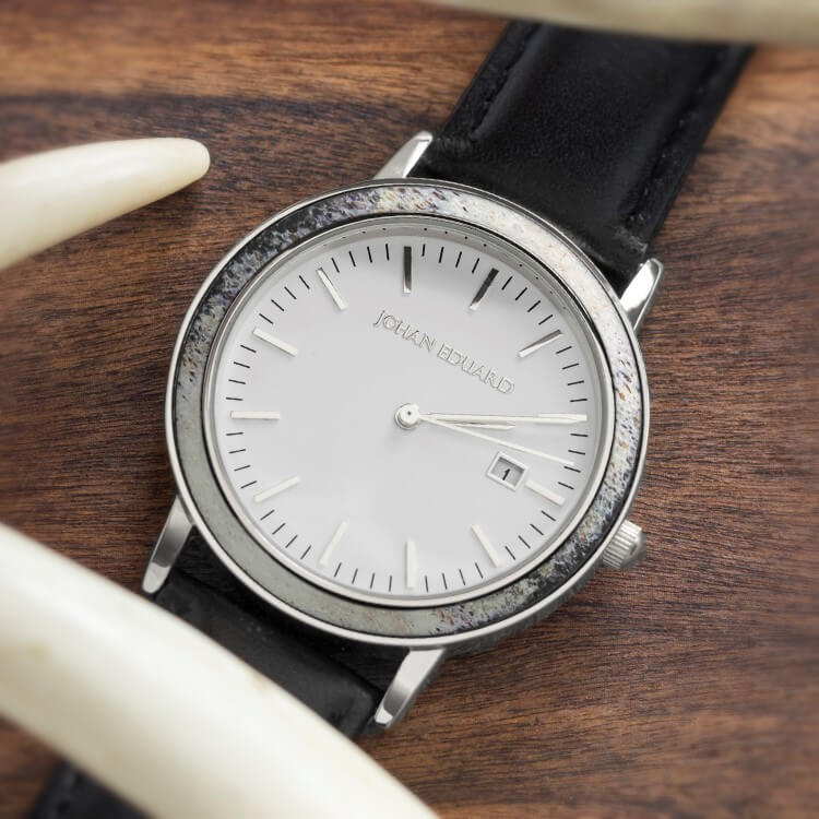 Deer Antler Wristwatch, Silver Metal With Black Leather Strap-JE1001-2