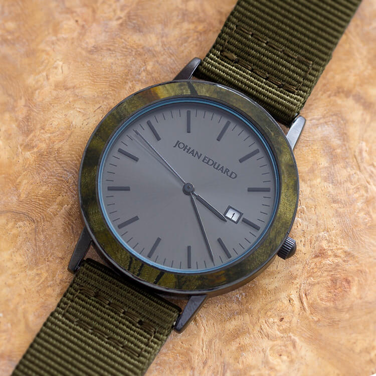 Wood Watch With Army Green Nylon Strap, Matte Black Watch-JE2006-5 Jewelry by Johan