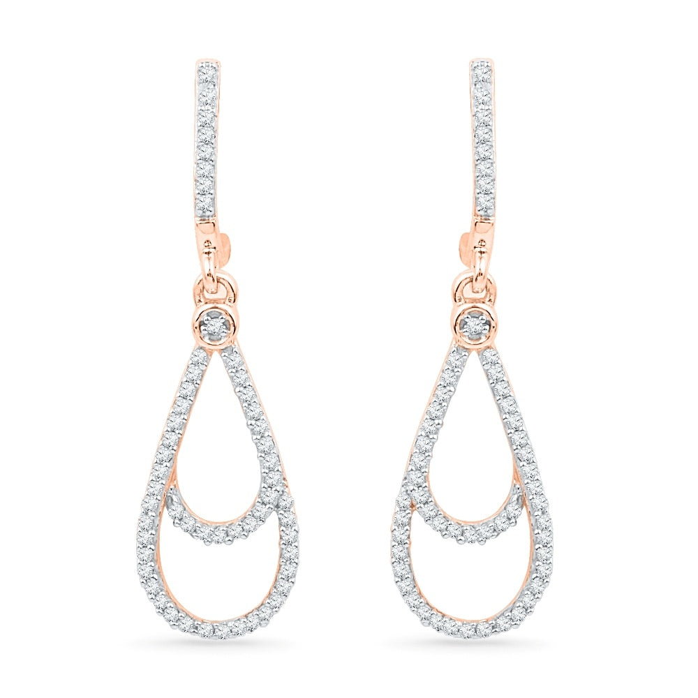 10K Pink Gold Diamond Dangle Earrings