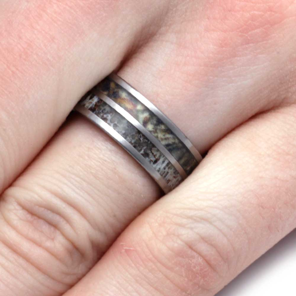 Camo Wedding Ring with Deer Antler Inlay, Size 10 - Jewelry by Johan
