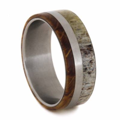 Matte Titanium Ring With Antler And Whiskey Barrel Wood-2040 - Jewelry by Johan