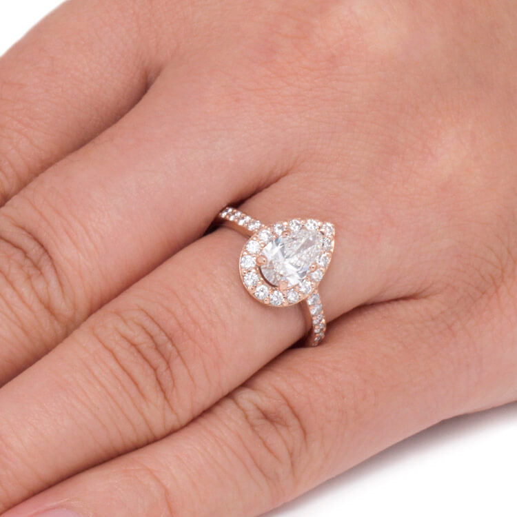 Pear Shaped Moissanite Engagement Ring Diamond Halo Ring In Gold Jewelry By Johan