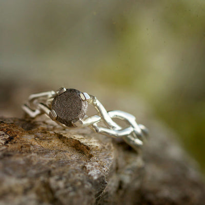 Sterling Silver Engagement Ring With A Meteorite Stone-2119 - Jewelry by Johan