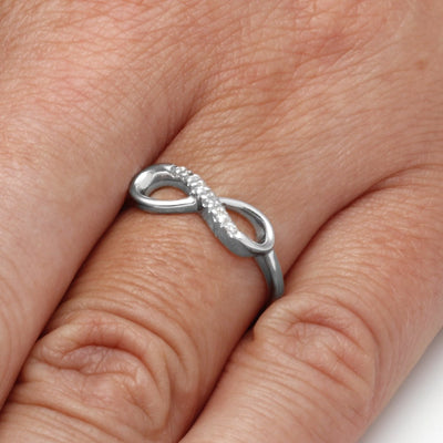 Sterling Silver Infinity Ring With Diamond Accent-SHRF016554ATW-SS - Jewelry by Johan