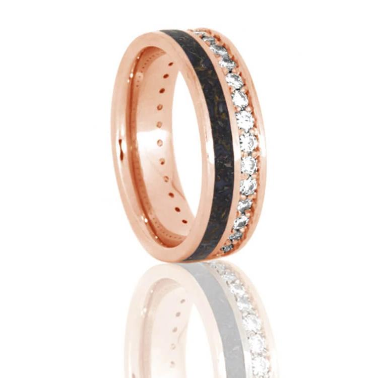 Unique Eternity Ring With Dinosaur Bone and Diamonds In Rose Gold-DJ1023RG - Jewelry by Johan