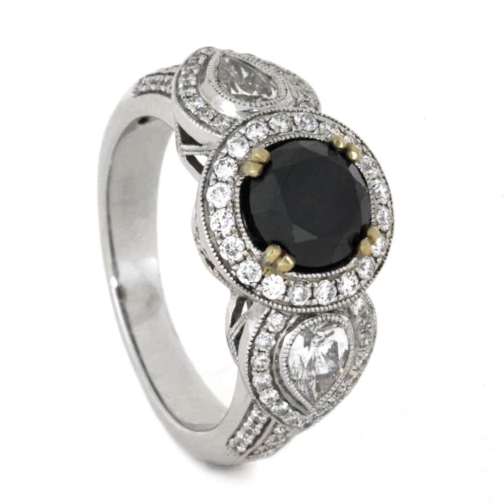 Black Diamond Vintage Inspired Engagement Ring in White Gold-3586