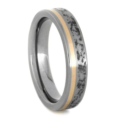Titanium Wedding Band with Mimetic Meteorite and 14k Rose Gold
