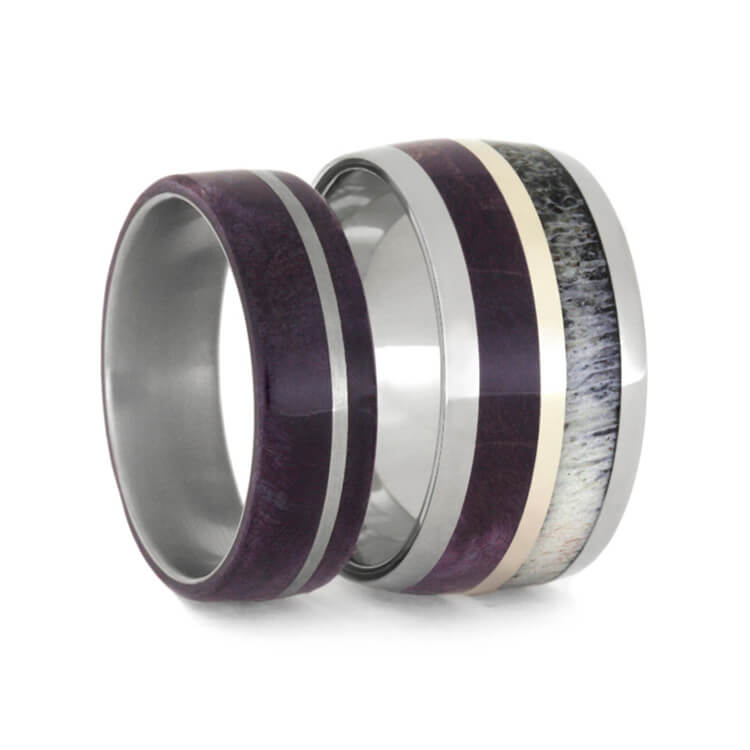 Purple Wood Wedding Band Set with Antler-2337 - Jewelry by Johan