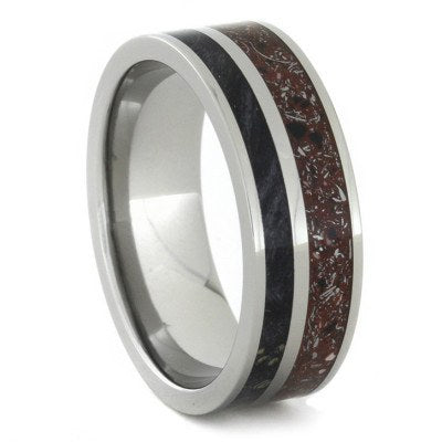 Red Concrete Meteorite Ring with Black Box Elder Wood in Titanium