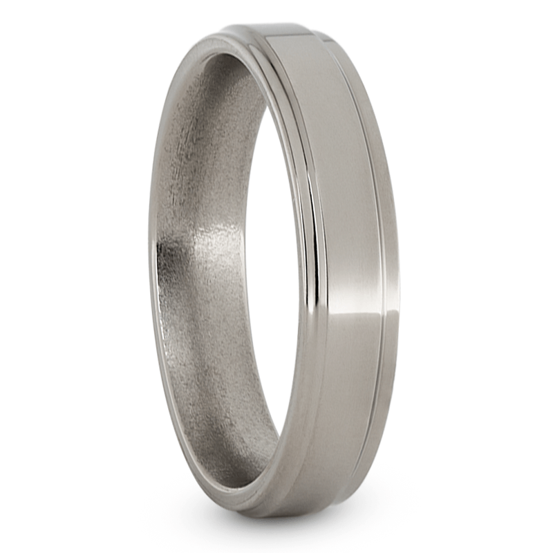 Womens Wedding Band, Titanium Ring with Grooved Edges-JIRMTA000199 - Jewelry by Johan