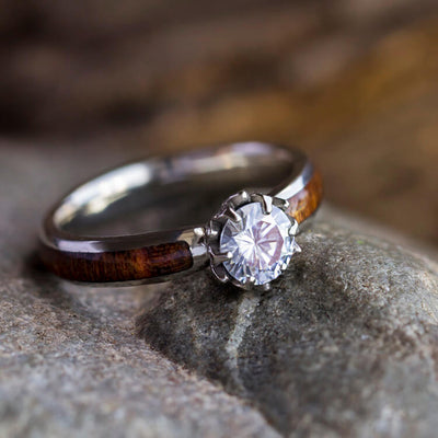 Lotus Flower Engagement Ring With Moissanite And Caribbean Rosewood Band-3608