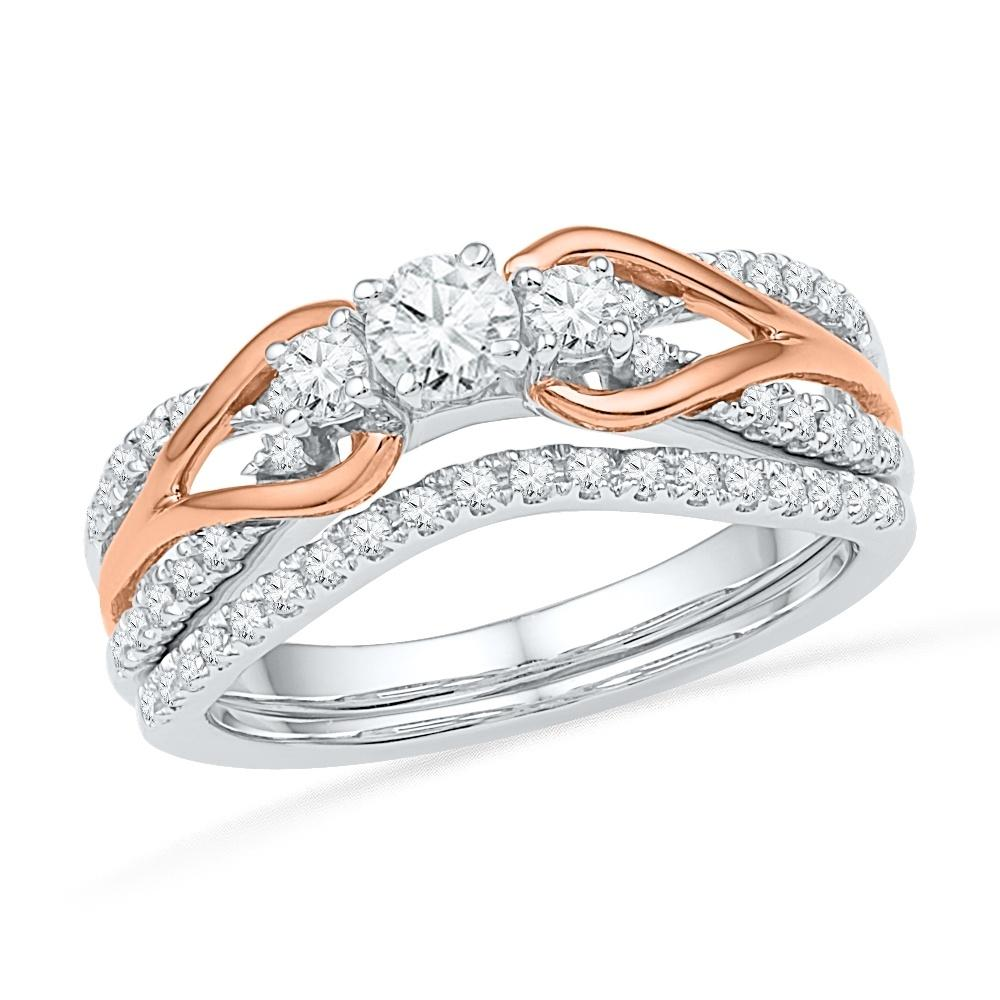 Sterling Silver and Rose Gold Diamond Engagement Ring Set