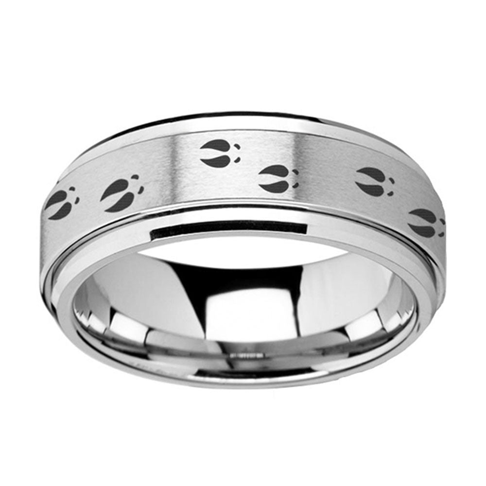Spinner Ring With Deer Tracks Engraving In Tungsten Band