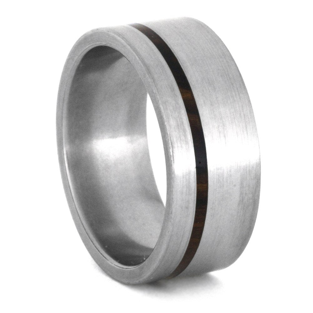 Thin Wood Ring in Brushed Titanium Band, Size 7.25-RS8602 - Jewelry by Johan