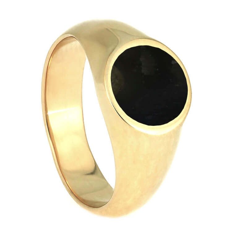 Springbok Horn Signet Ring In 10k Yellow Gold, Trophy Jewelry-3741