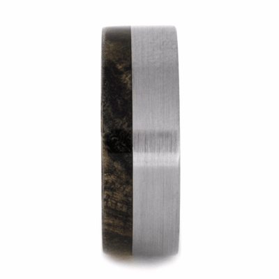 buckeye burl wood wedding band with brushed finish