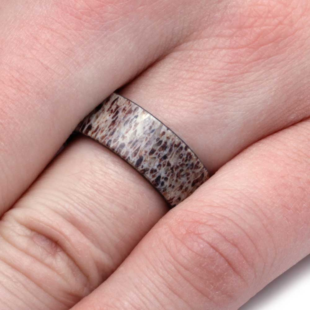 Mens Wedding Band, Natural Deer Antler Ring Over Titanium Band ...