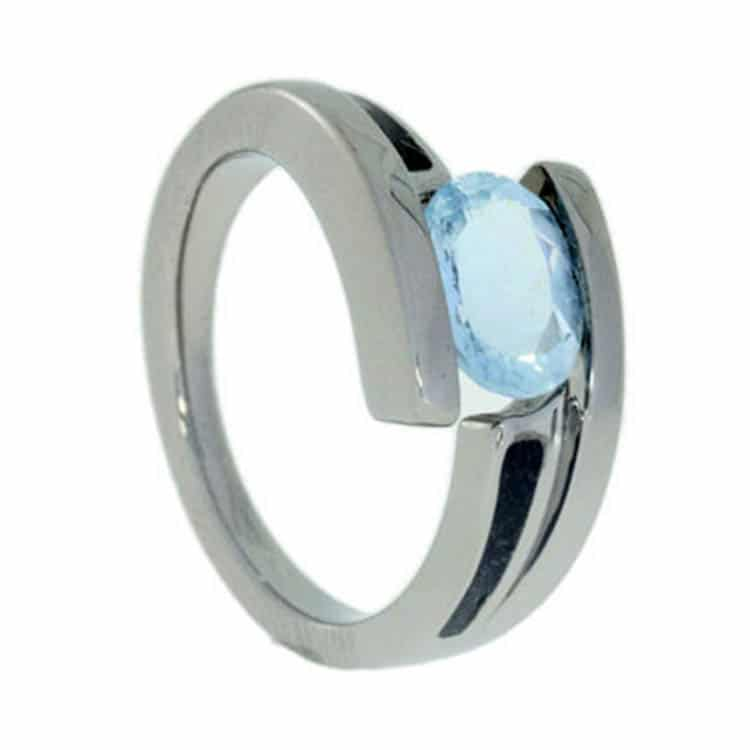 Unique Memorial Ring With Aquamarine-1589 - Jewelry by Johan