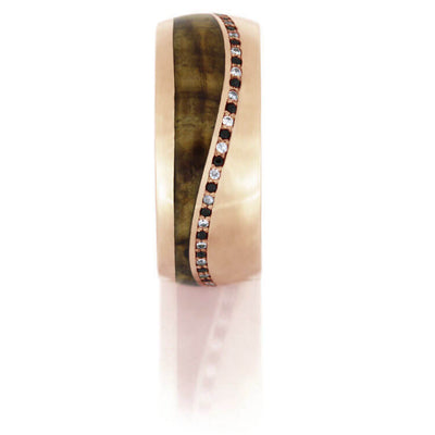 Black And White Diamond Eternity Wedding Band, Rose Gold Wood Ring-DJ1016RG - Jewelry by Johan