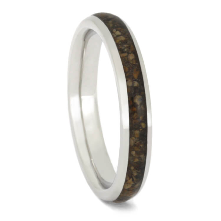 Crushed Dinosaur Bone Wedding Band, Dainty Platinum Ring For Women-2398