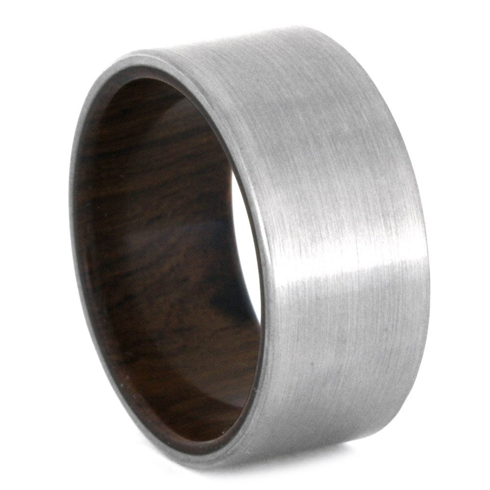 Brushed Titanium Wedding Band With An Ironwood Sleeve