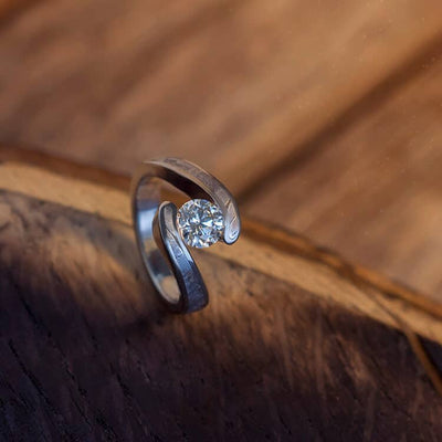 Diamond Meteorite Engagement Ring, Tension Setting With Rare Seymchan Meteorite-3833
