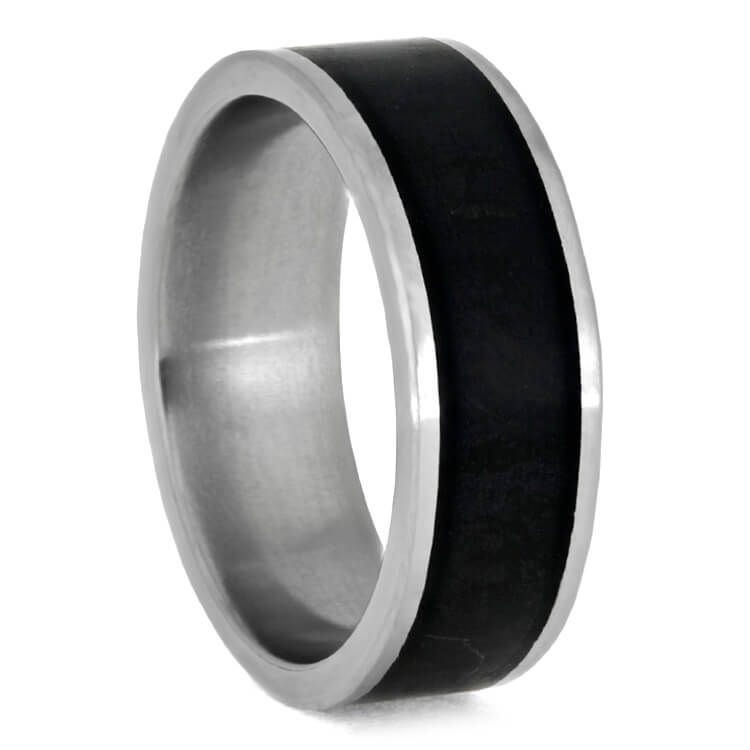 Black Jade Wedding Band, Matte Titanium Ring, Stone Jewelry-3646