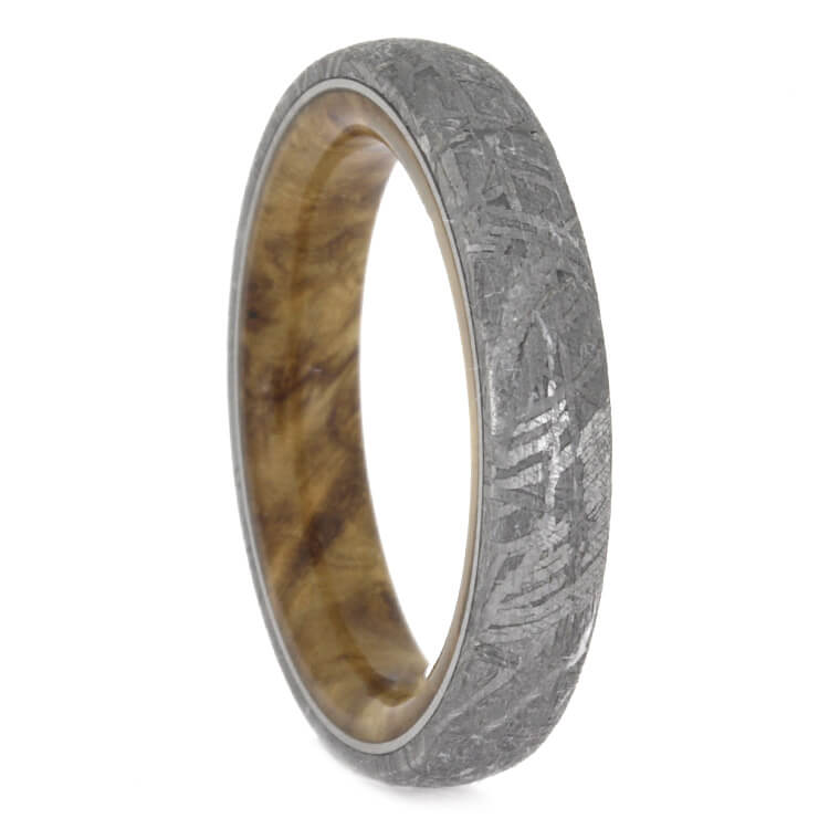 Meteorite Wedding Band With Black Ash Burl Wood Inside, Size 6-RS9851 - Jewelry by Johan