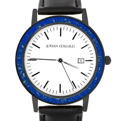 Blue Stardust Watch, Black Leather Watch, Meteorite Accessory-JE1003-12