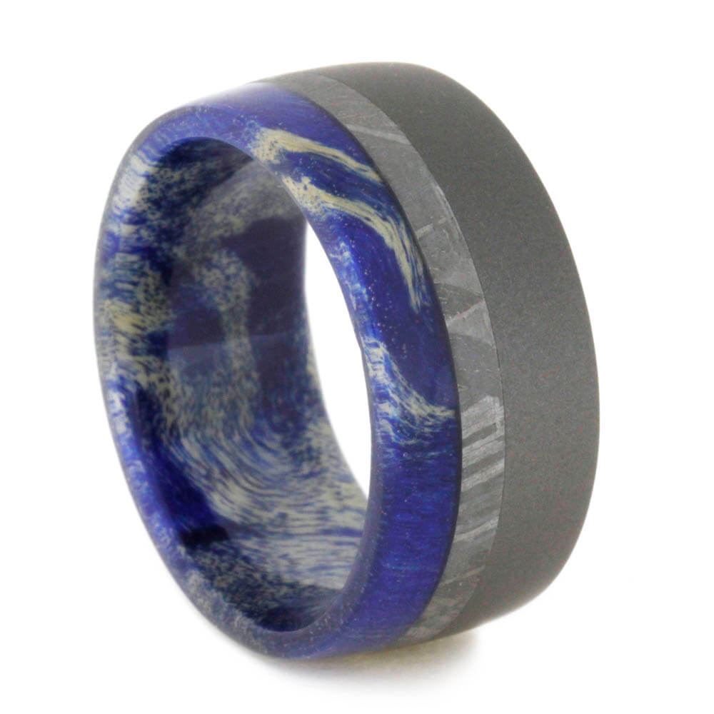Meteorite Ring With Blue Box Elder Burl, Sandblasted Titanium