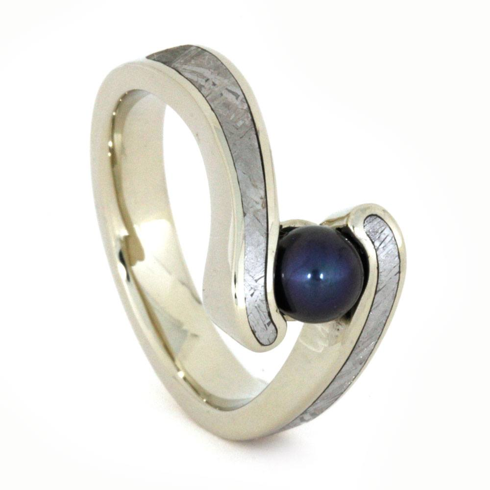 Pearl Engagement Ring, Black Pearl in White Gold Ring, Meteorite Inlay-3244 - Jewelry by Johan